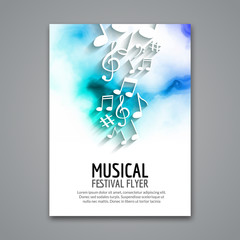 Colorful vector music festival concert template flyer. Musical flyer design poster with notes