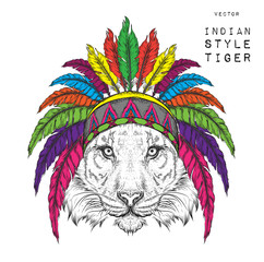 Tiger in the colored Indian roach. Feather headdress of eagle. Hand draw vector  illustration