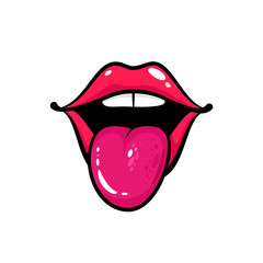 Open female mouth with tongue and teeth. Vector comic illustration in retro pop art style isolated on white background.