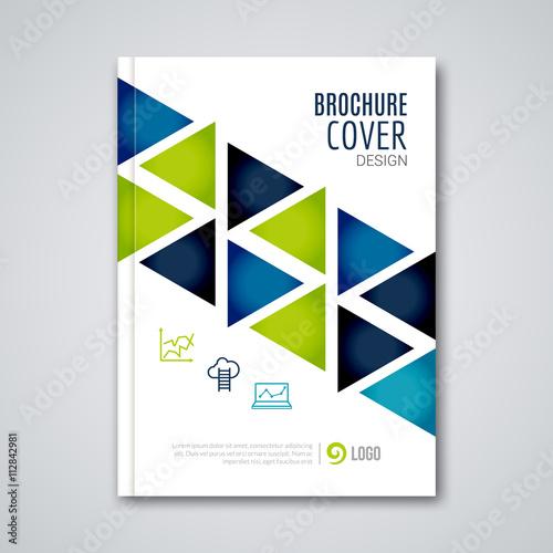 Book Cover Design Template Vector Illustration : Quot cover flyer report colorful triangle geometric prospectus