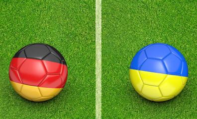 Team balls for Germany vs Ukraine football tournament match, 3D rendering