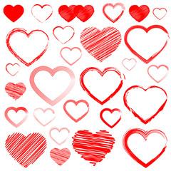 Hearts set, isolated on white background, vector illustration.