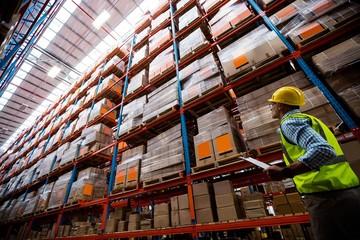 Warehouse worker walking in an aisle