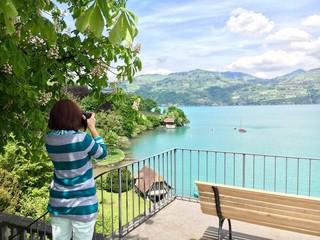 Taking picture of lake Thun