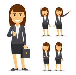 Businesswoman vector cartoon character. Business lady smiling and angry, pointing with her hand