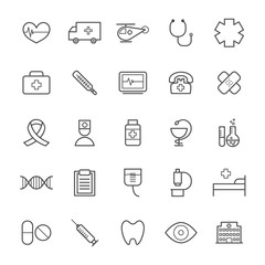 Collection of 25 linear medical icons. Thin icons for web, print, mobile apps design