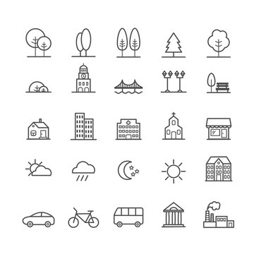 Set of linear icons of city landscape elements. Thin icons for web, print, mobile apps design