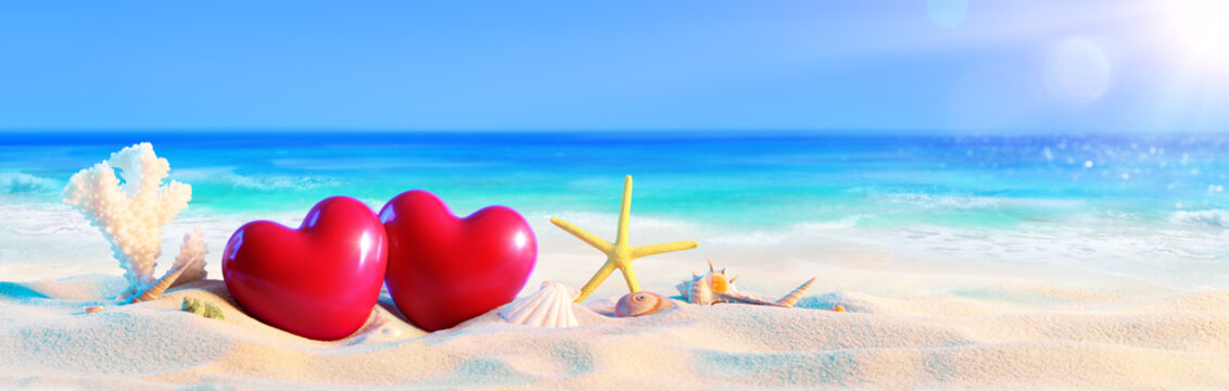 Couple Of Hearts On Tropical Beach - Romantic Holiday