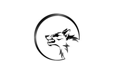 wolf head logo mascot and tattoo on moon background