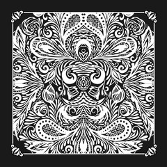 Bandana print with design for silk neck scarf.Traditional ethnic pattern. Black and white vector image.