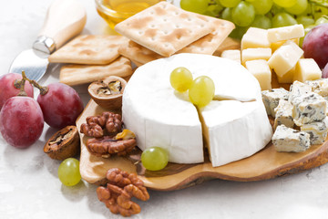 camembert, grapes and crackers on a white table, closeup