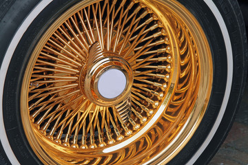 Whitewall Tire with Fancy Gold Rim
