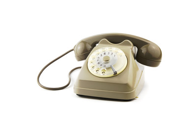 isolated vintage italian telephone / portrait of old - vintage telephone in white background