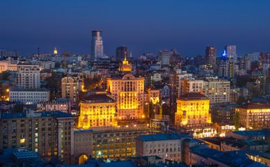 Night center of Kiev city, Ukraine