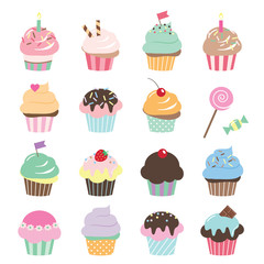 Cute cupcakes set. Birthday stickers.