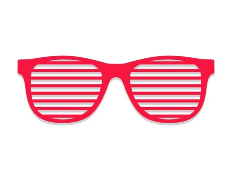 Shutter glasses. Concept of brindled or latticed sunglasses, fashionable accessory, summer youth glasses red. Shutter shades sun glasses isolated on white background