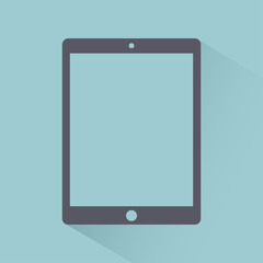 Tablet icon flat style, gadget isolated on light background with shadow, stylish vector illustration for web design