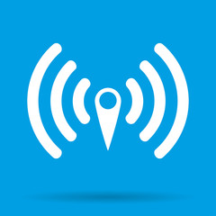 WIFI icon with shadow isolated on a blue background, vector illustration