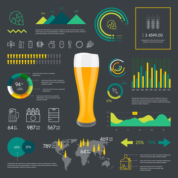 Thin line color beer infographic