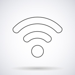 WIFI icon silhouette with shadow, shape isolated on a white background, vector illustration for web design