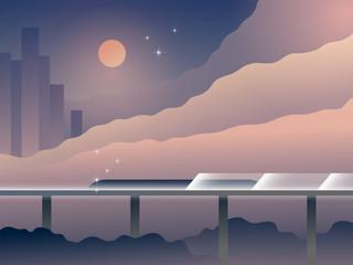 Future Transport Landscape Cartoon Vector Illustration. Modern City with Futuristic Railway. Architecture with Nature. Retrofuturism Design