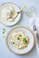 Gorgonzola and Basil risotto