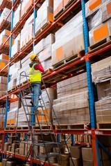 Worker on ladder in warehouse