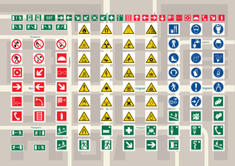 Set of pictograms for cards and city schemes.
