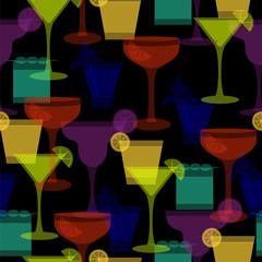 cocktail silhouettes dark seamless pattern