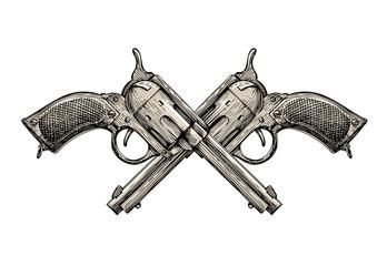 Crossed Revolvers. Vintage guns hand-drawn. Gun, firearms vector illustration