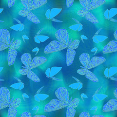soft blue background with butterflies on a winding grid.