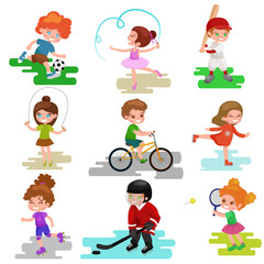Kids sport, isolated boy and girl playing active games vector