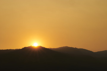 Sunset over Doi Suthep mountain.