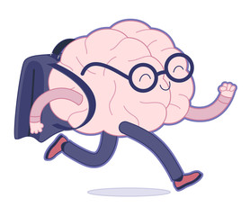 Back to school flat cartoon vector illustration - a brain wearing glasses running with a schoolbag. Part of a Brain collection.