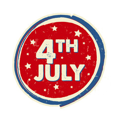 4th of July with stars in circle banner - USA American Independe