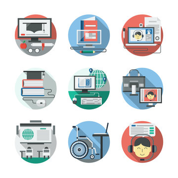 Distance learning detailed flat vector icons set
