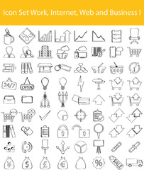 Drawn Doodle Lined Icon Set Work, Internet, Web and Business I