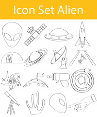 Drawn Doodle Lined Icon Set Aliens