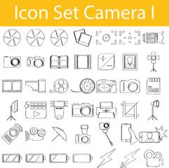 Drawn Doodle Lined Icon Set Camera I