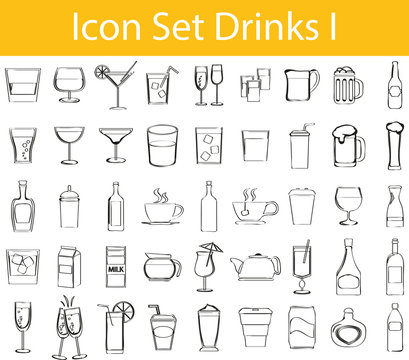 Drawn Doodle Lined Icon Set Drinks I
