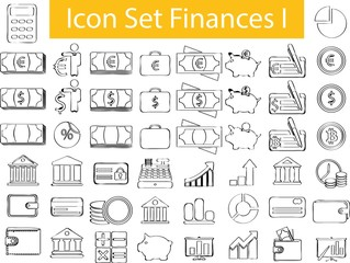 Drawn Doodle Lined Icon Set Finances I