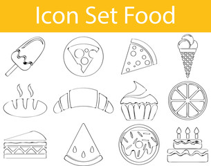 Drawn Doodle Lined Icon Set Food I