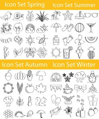 Drawn Doodle Lined Icon Set Four Seasons