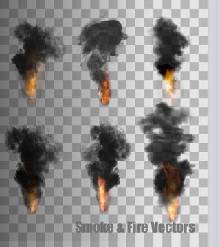 Smoke and fire vectors on transparent background