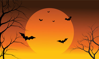 Bat and full sun at the afternoon Halloween scenery