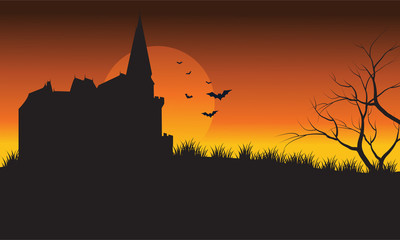 At afternoon castle and bat Halloween scenery