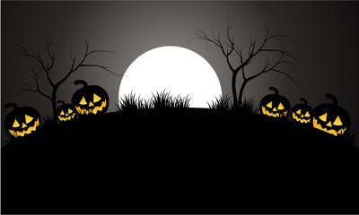 Halloween pumpkins scary and moon