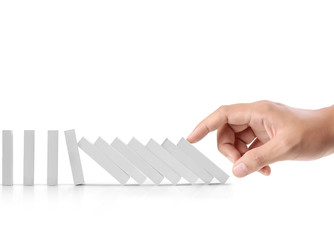 hand stop  dominoes continuous toppled