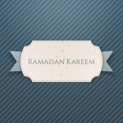 Ramadan Kareem festive Card with greeting Ribbon