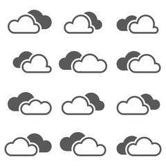 Set of simple vector icons - black clouds
